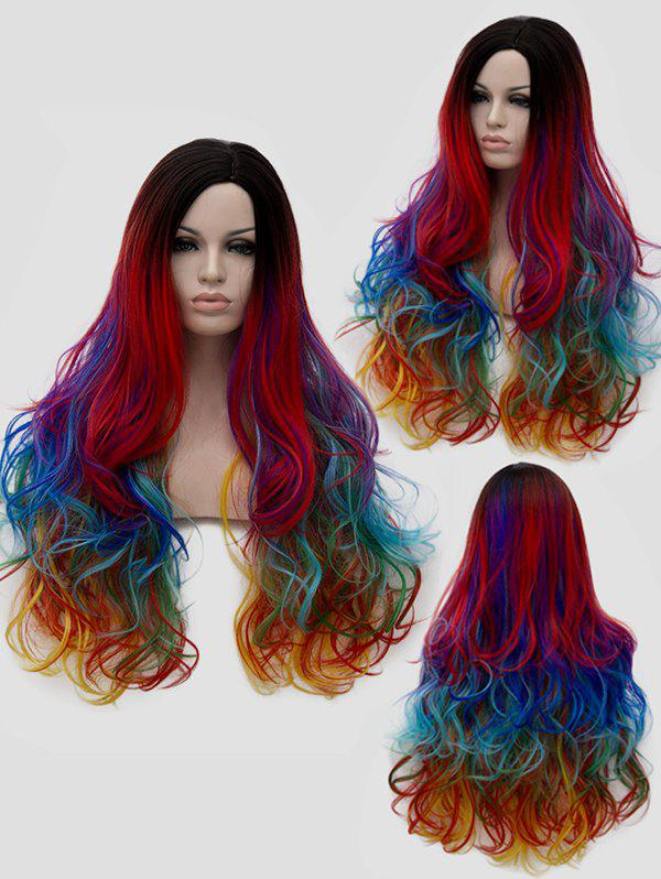 Long Side Parting Layered Rainbow Wavy Cosplay Synthetic Wig - multicolor