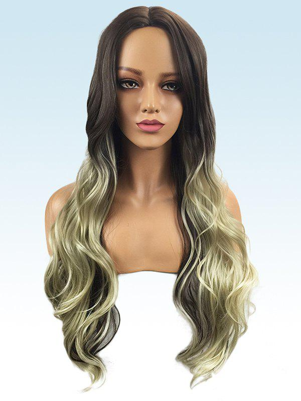 Middle Part Long Colormix Wavy Party Synthetic Wig - multicolor