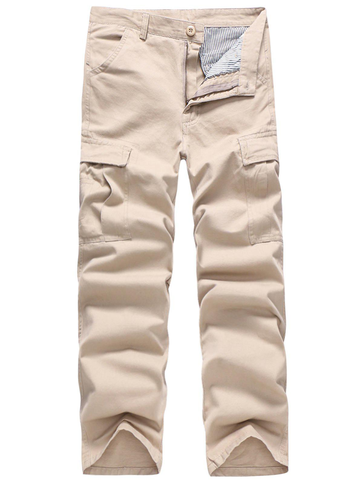 Solid Color Simple Zip Fly Cargo Pants - APRICOT XS