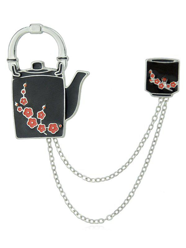 Plum Blossom Jug Cup Design Chain Brooch - BLACK