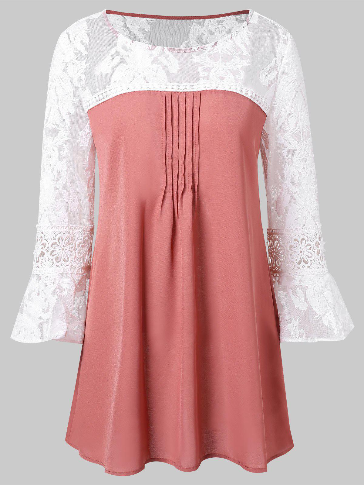 Lace Panel Flare Sleeve Blouse