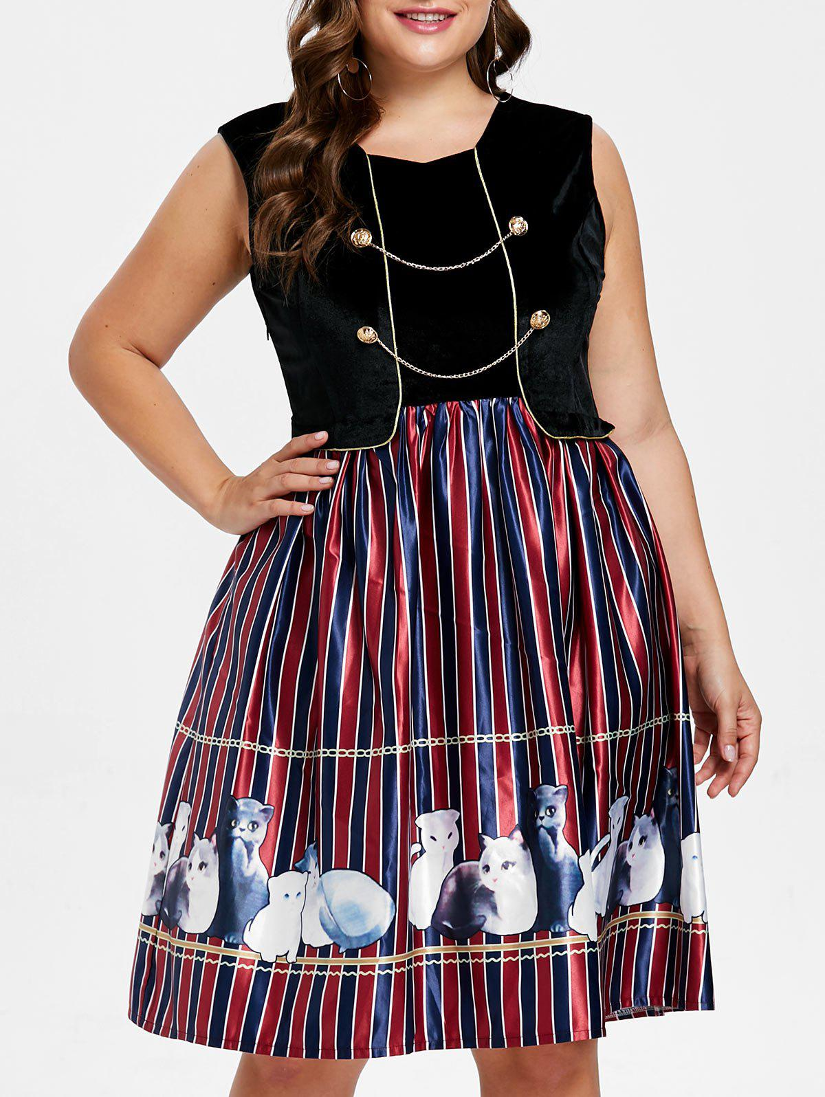 Plus Size Striped Detail Sleeveless Dress - BLACK 3X