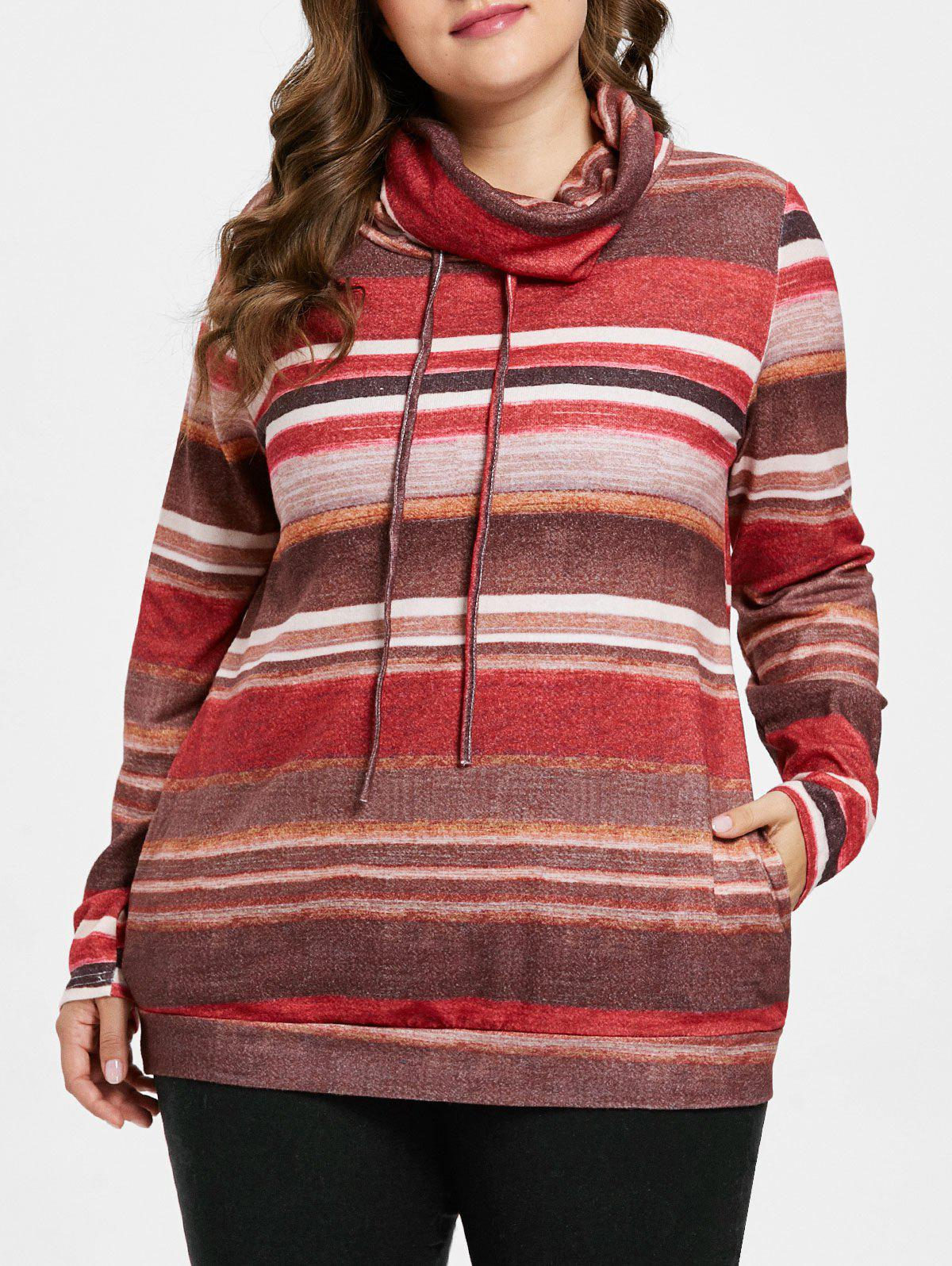 Drawstring Plus Size Striped Sweatshirt - multicolor 1X