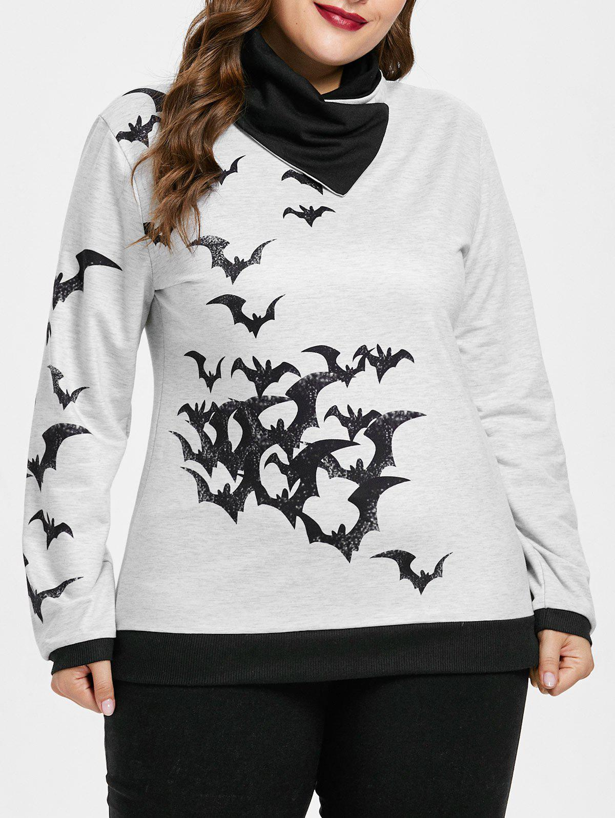 Plus Size Color Block Halloween Sweatshirt - LIGHT GRAY 1X