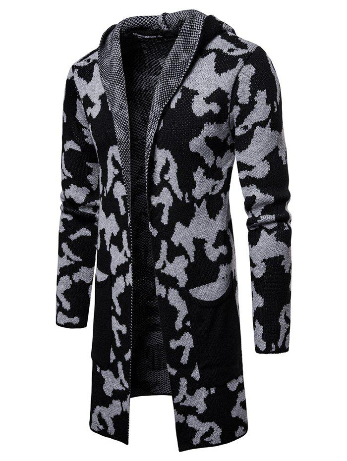Printed Color Block Longline Hooded Cardigan - LIGHT GRAY L