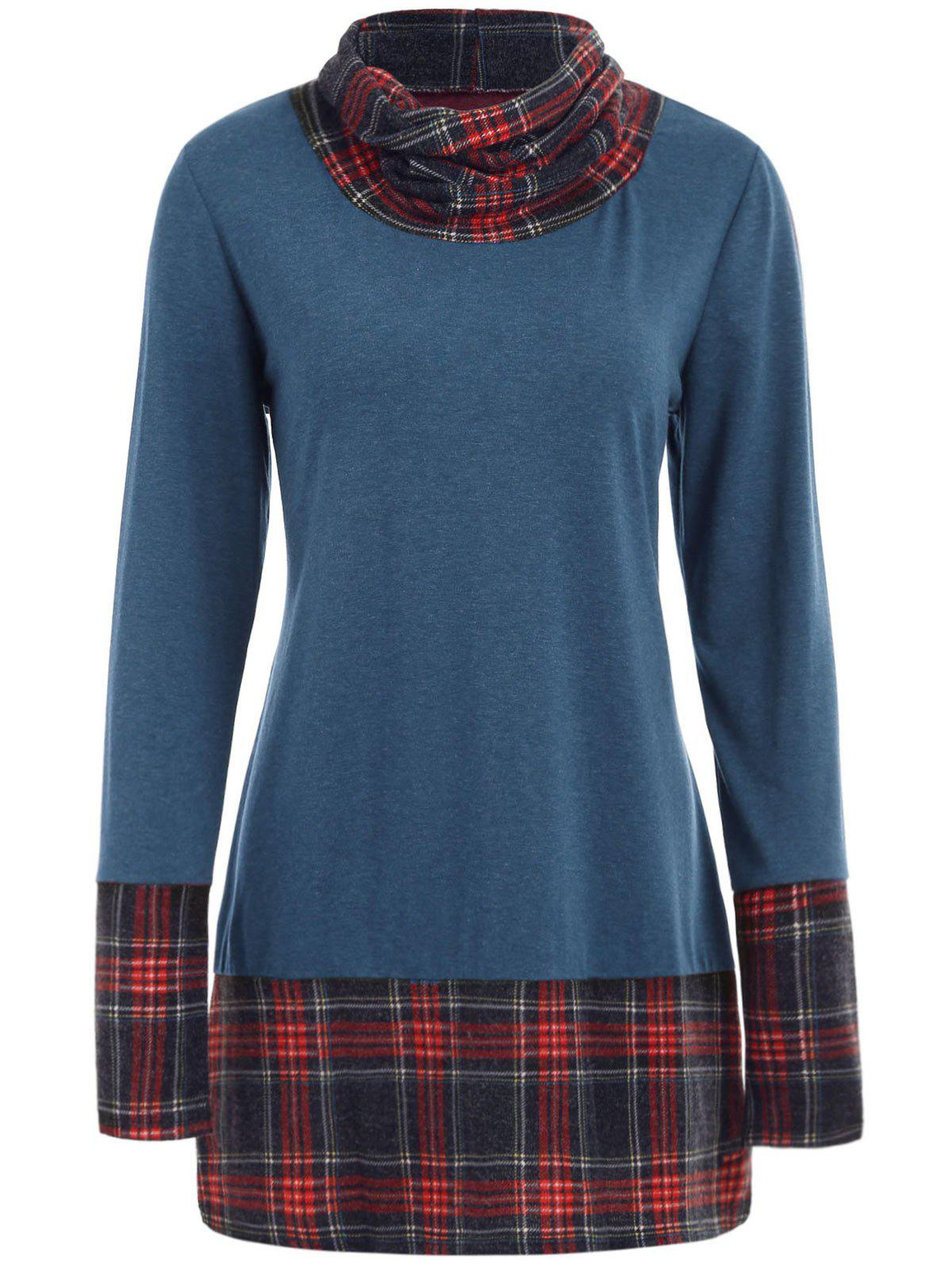 Plaid Detail Plus Size Cowl Neck Sweatshirt