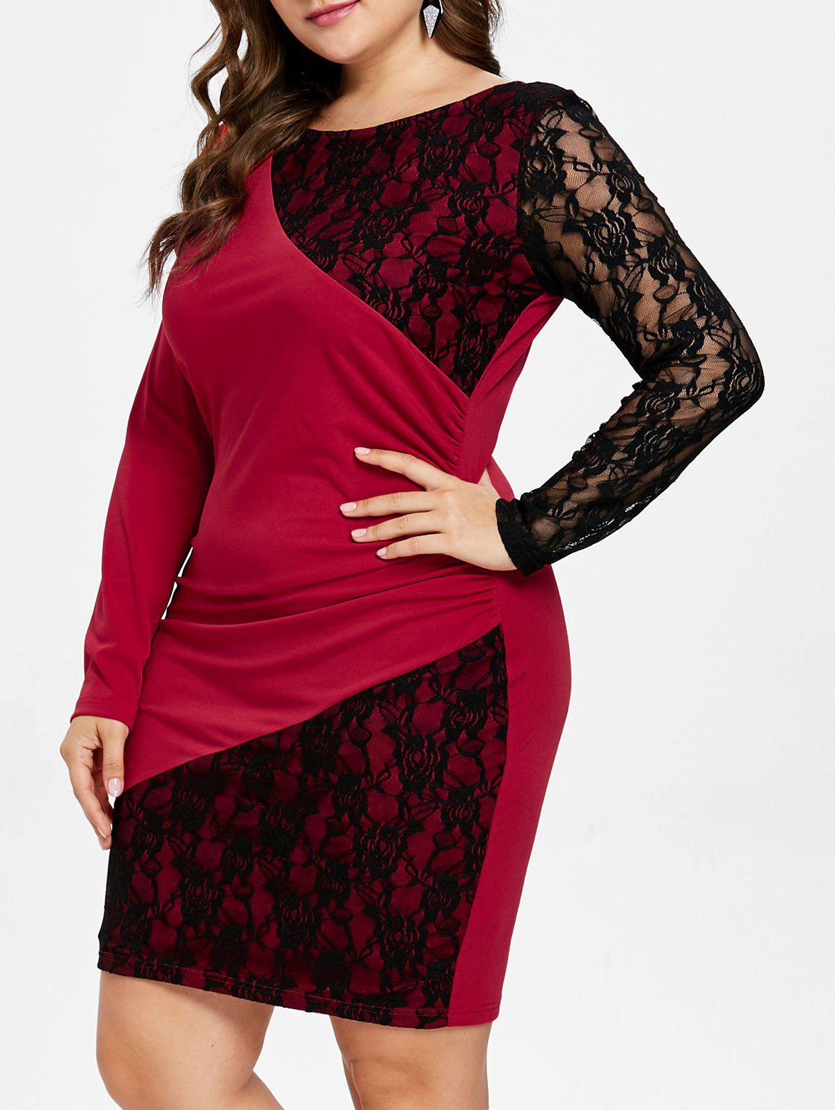 Long Sleeve Lace Panel Plus Size Knee Length Dress - RED 1X