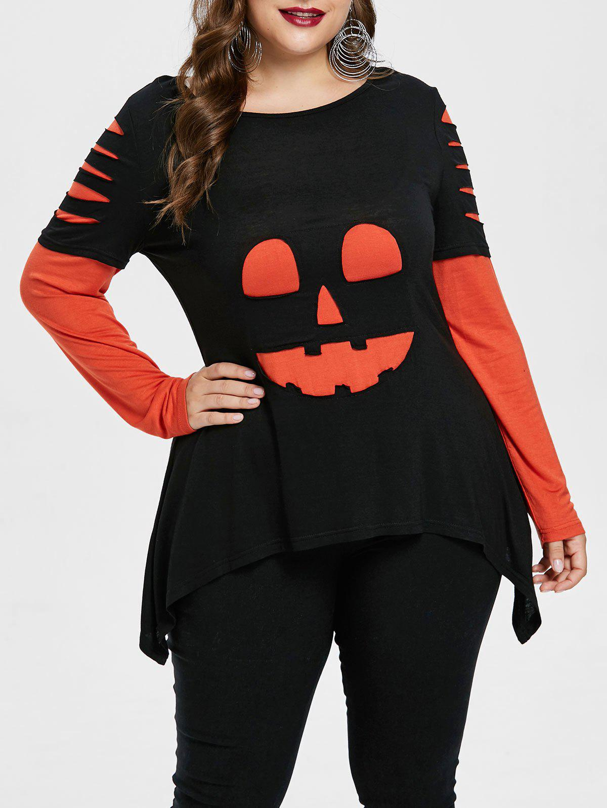 Plus Size Halloween Pumpkin Lamp  T-shirt - BLACK L