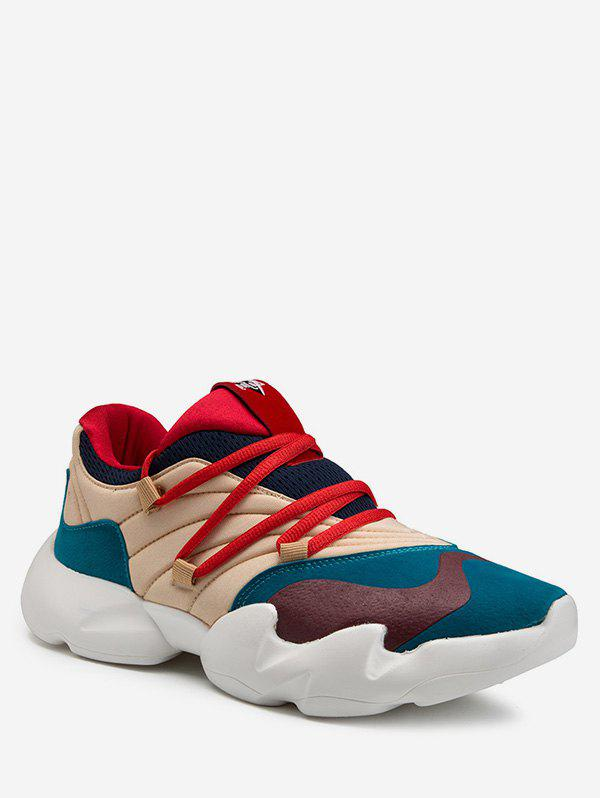 Color Block Breathable Chunky Sneakers - BLUE EU 44