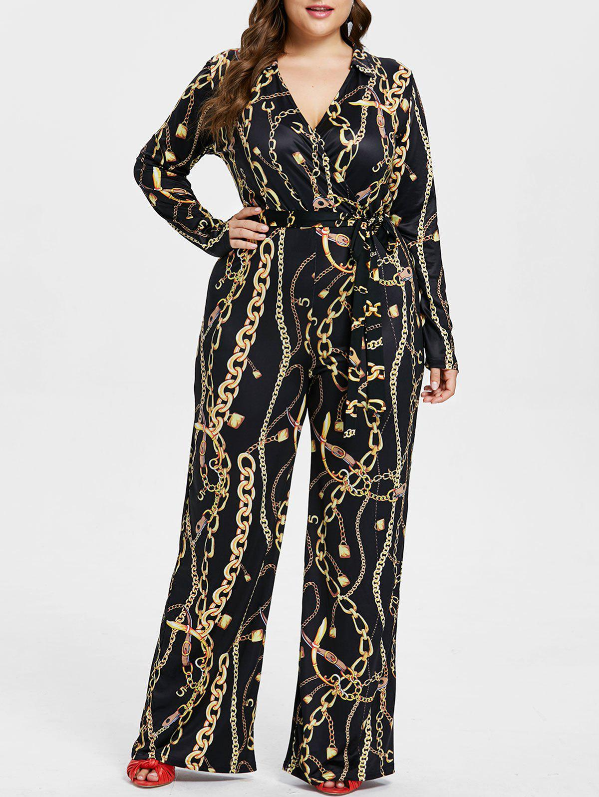 Plus Size Chain Pattern Jumpsuit - BLACK 2X