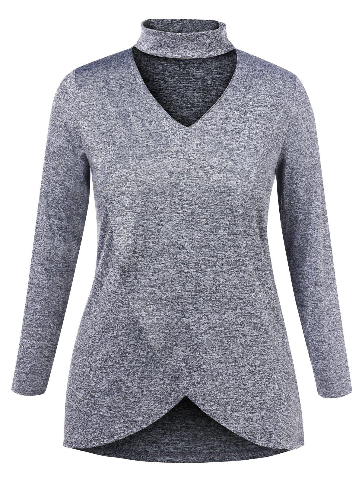 Plus Size Cut Out Choker Long Sleeve T Shirt - GRAY 1X