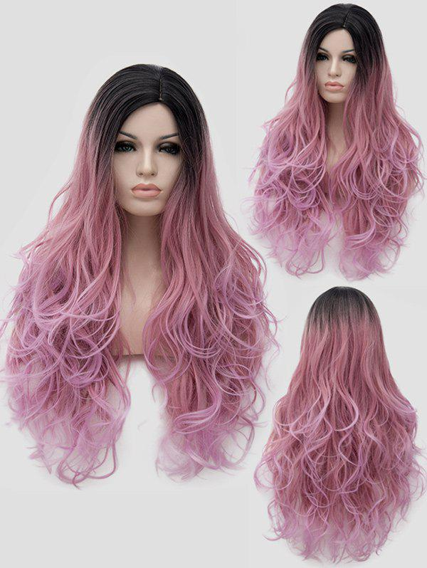 Long Side Parting Ombre Wavy Party Cosplay Synthetic Wig - multicolor