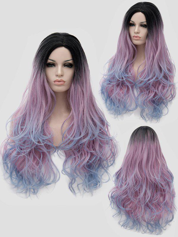 Long Side Parting Colormful Wavy Anime Party Synthetic Wig - multicolor