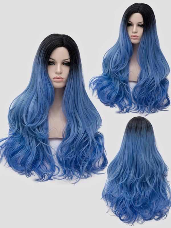 Long Side Parting Wavy Ombre Cosplay Synthetic Wig - multicolor