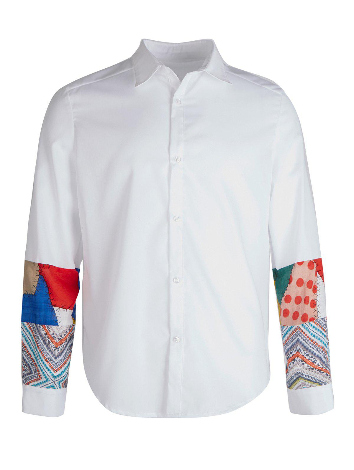 Vintage Splicing Casual Button Up Shirt - WHITE XL