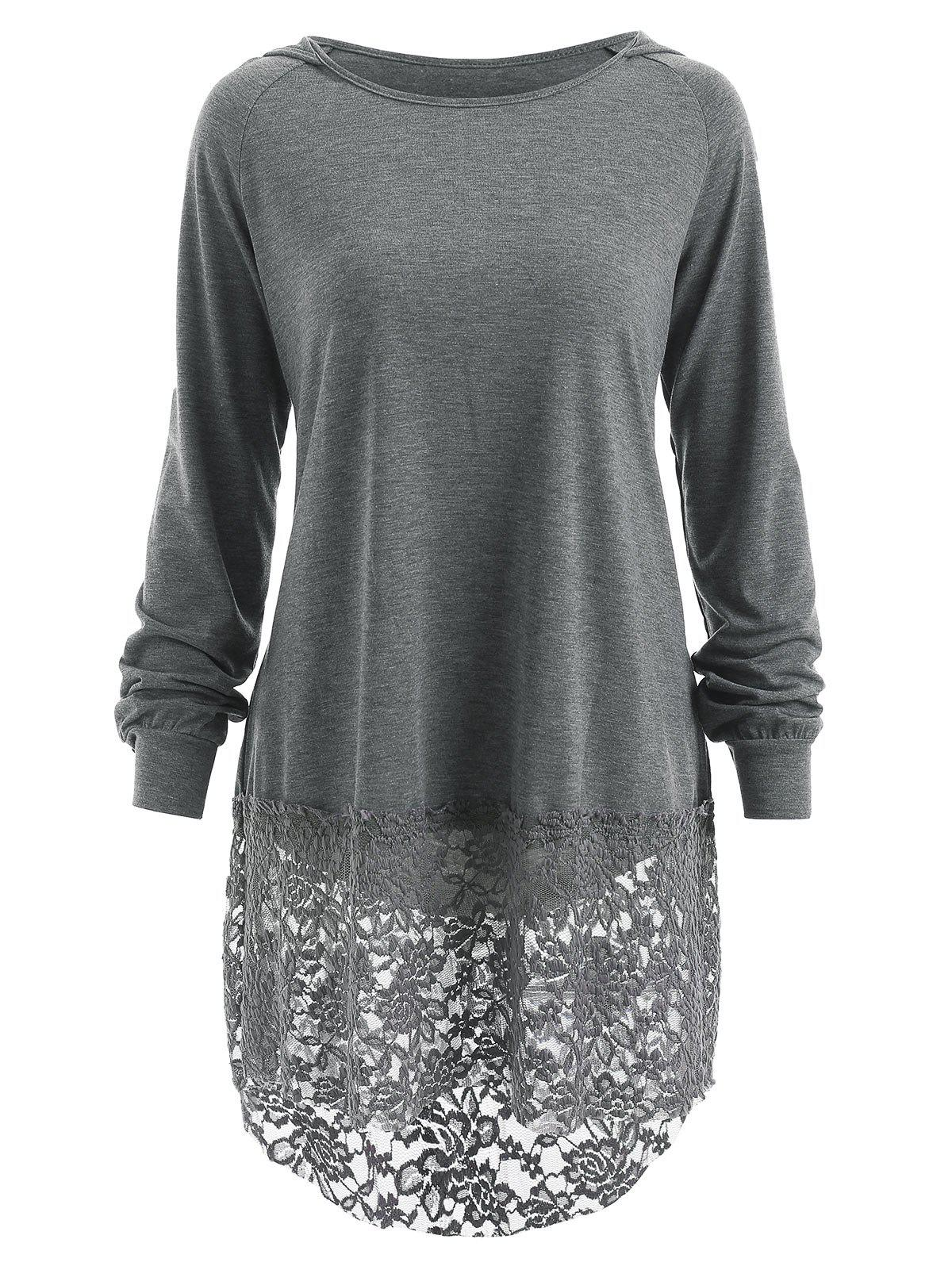 Long Sleeve Lace Panel Hooded T-shirt, Gray