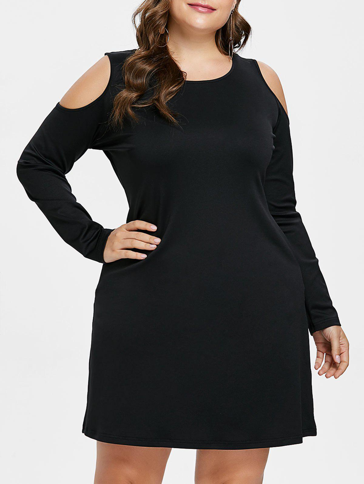 Plus Size Open Shoulder Tee Dress - BLACK 1X