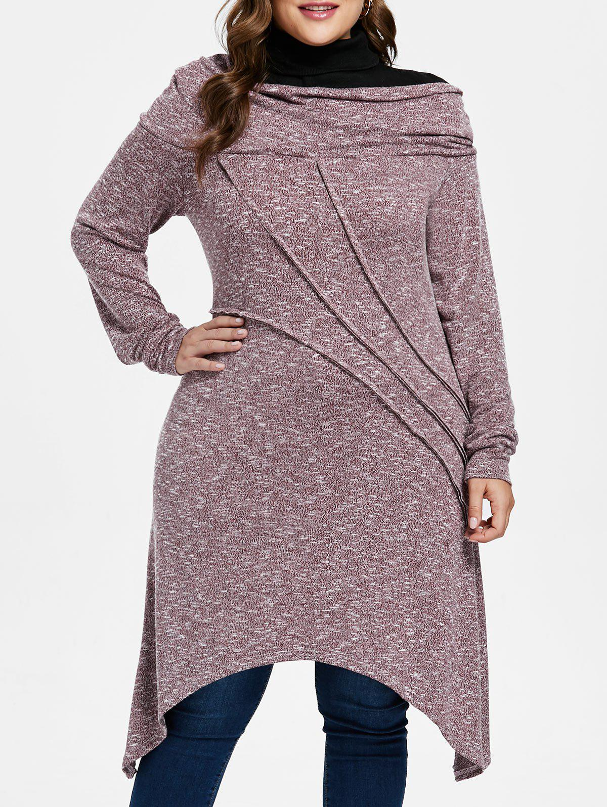Plus Size Asymmetric Space Dyed Tunic Knitwear