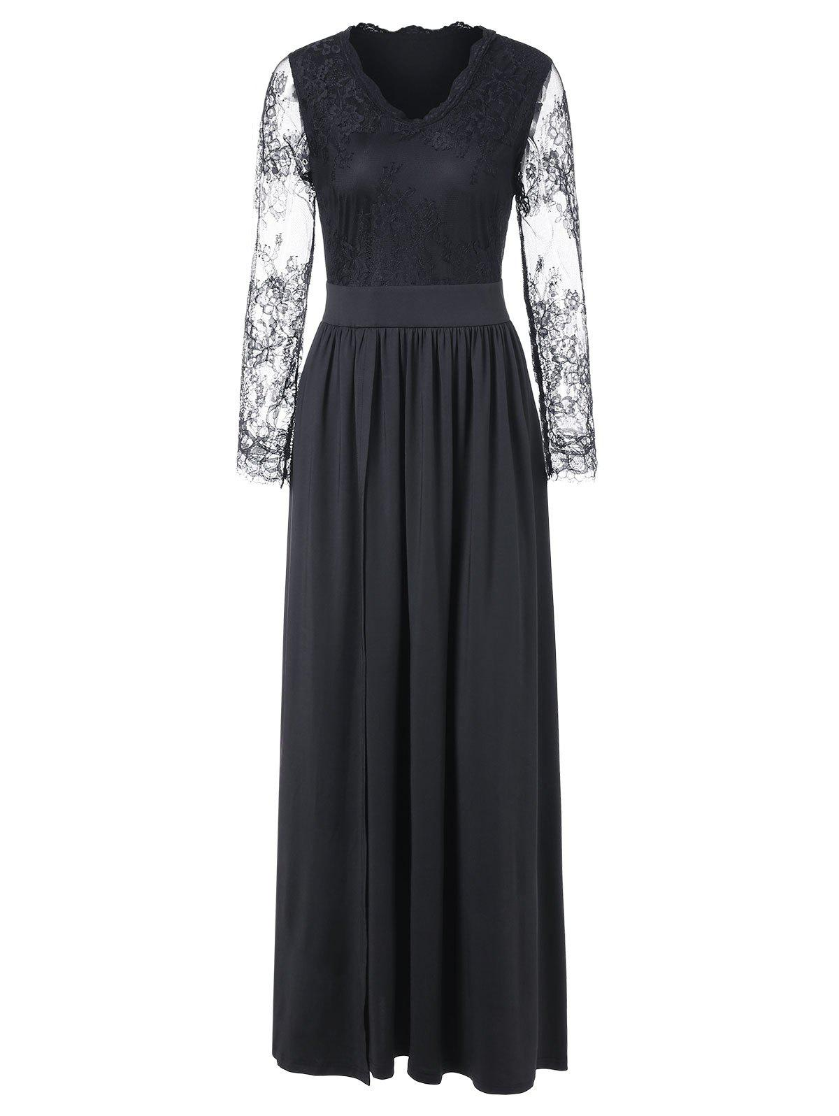 Lace Panel Long Sleeve Maxi Formal Dress - BLACK 2XL