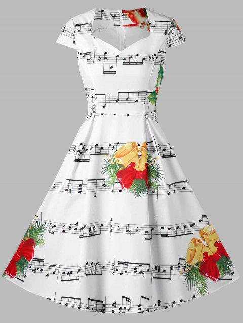 Christmas Bell and Music Note Print Dress - WHITE L