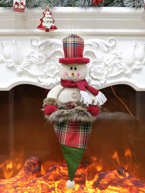 Christmas Hat Theme Snowman Shaped Hanging Decoration Gift Doll - LAVA RED
