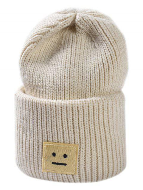 Smiley Face Embroidery Warm Cashmere Hat - WARM WHITE REGULAR