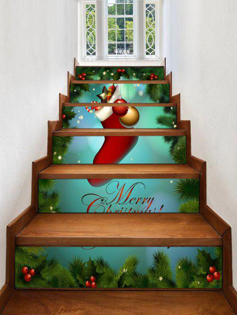 Christmas Ball Sock Print Stair Stickers - multicolor 6PCS X 39 X 7 INCH( NO FRAME )