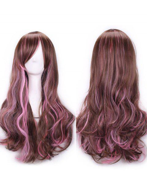 Long Inclined Bang Wavy Colormix Lolita Synthetic Wig - multicolor