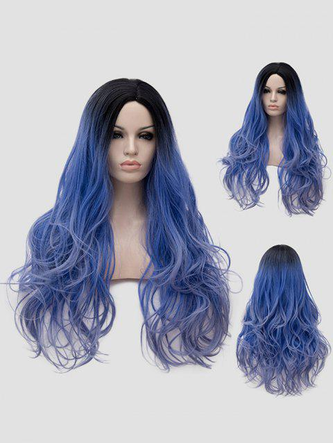 Long Side Parting Ombre Wavy Synthetic Lolita Cosplay Wig - multicolor