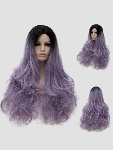 Long Side Parting Ombre Wavy Halloween Christmas Party Wig - multicolor