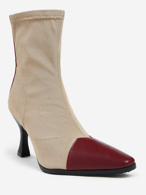Strange Heel Pointed Toe Ankle Boots - CHESTNUT RED 38