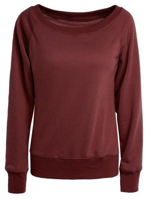 Pure Color Long Sleeve Sweatshirt For Women - WINE RED M