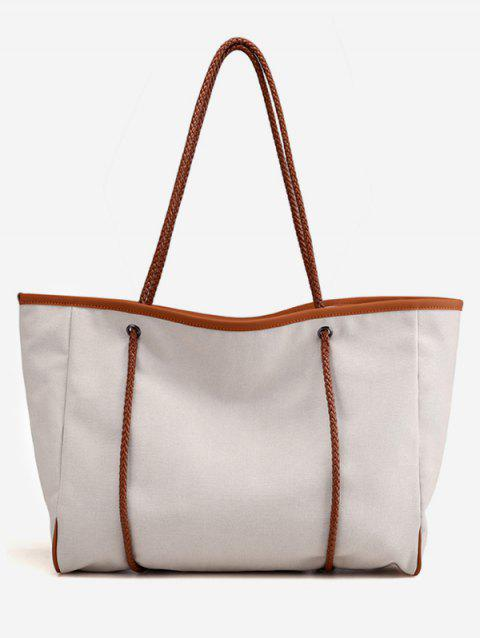 Canvas All Purpose Shoulder Bag - BEIGE