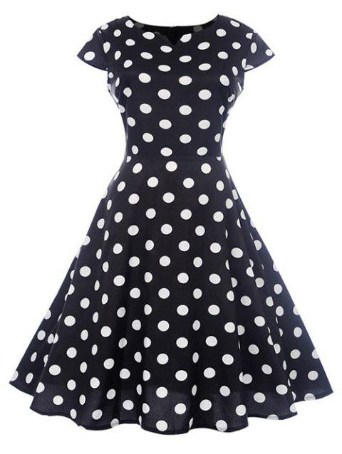 Vintage Dotted Pin Up Dress - BLACK L