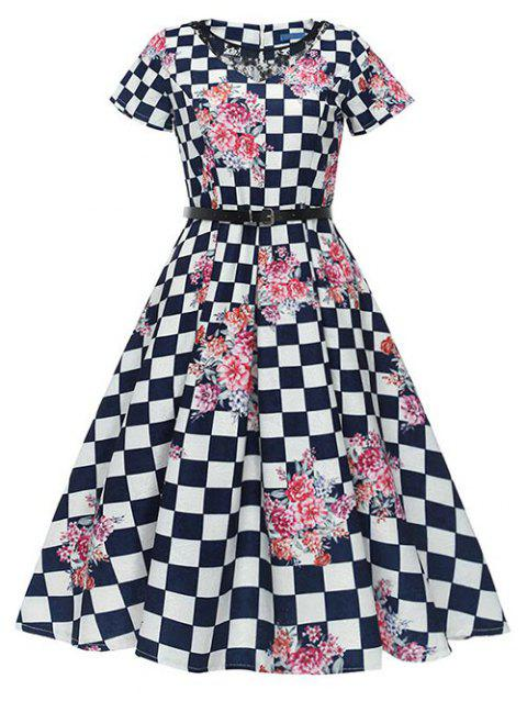 Retro Checked Floral Pin Up Dress - BLACK L