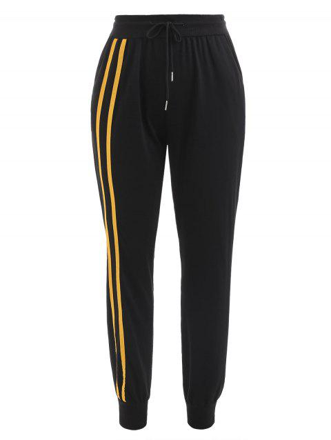 Striped Brim High Waist Sport Pants - BLACK XL