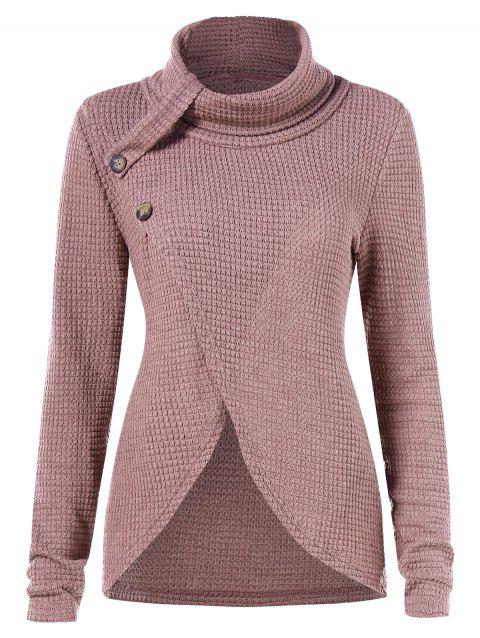 Asymmetrical Turtleneck Sweater - PINK M
