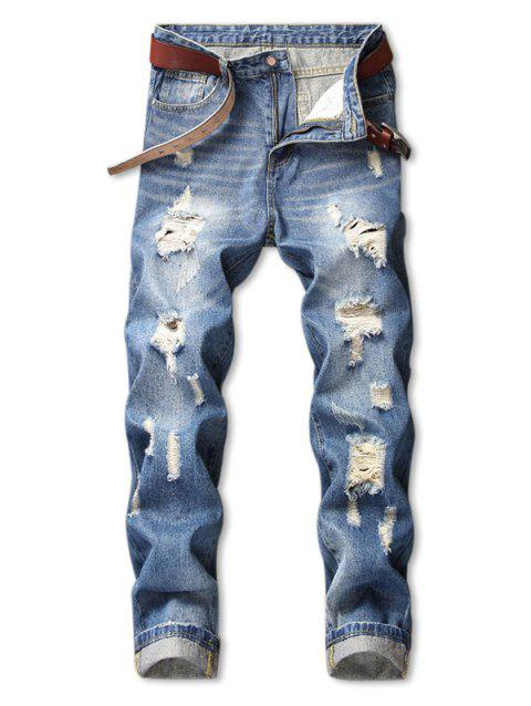 Ripped Nine Minutes of Pencil Jeans - JEANS BLUE 32
