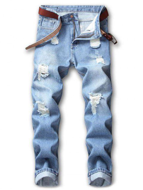Hole Ripped Washed Nine Minutes of Jeans - LIGHT BLUE 36