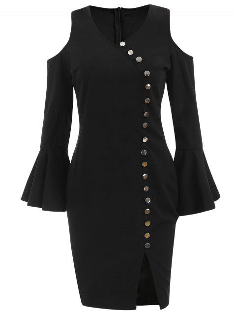 Cold Shoulder Button Embellished Bodycon Dress - BLACK M