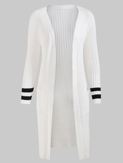 Stripe Cuffs Knit Ribbed Duster Cardigan - WHITE ONE SIZE