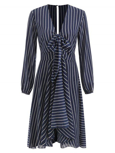 Long Sleeve Cutout Back Striped Flowing Dress - multicolor S