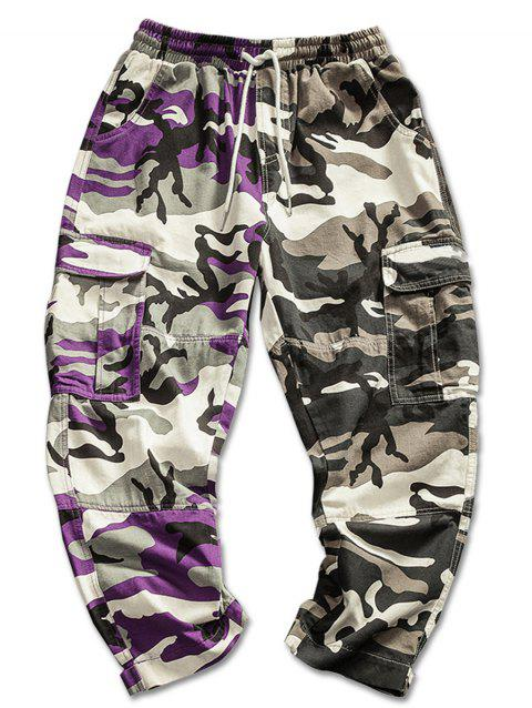 Contrast Color Camo Print Cargo Pants - CAMOUFLAGE GREEN M