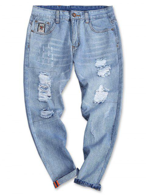 Turnup Bottom Light Wash Zipper Fly Jeans - DENIM BLUE 34