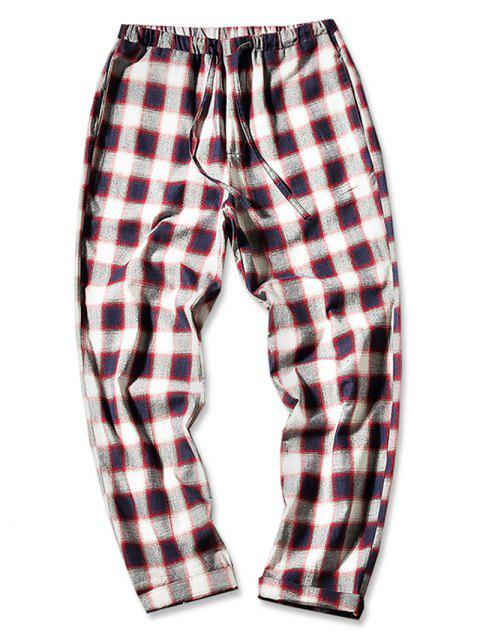 Straight Leg Plaid Print Drawstring Pants - RED WINE M