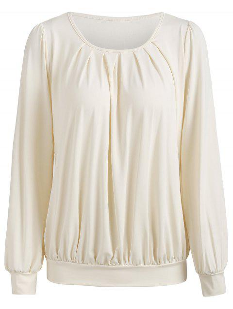 Long Sleeve Blouson Blouse - WARM WHITE XL