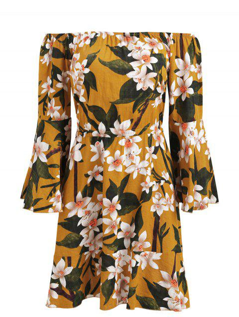 Bell Sleeve Off Shoulder Floral Print Dress - ORANGE GOLD XL