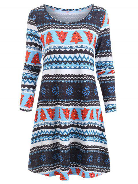 Christmas Snowflake Full Sleeve Swing Dress - multicolor L