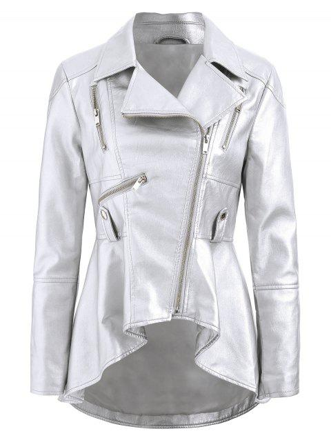 Zipper Faux Leather Asymmetric Jacket - PLATINUM XL