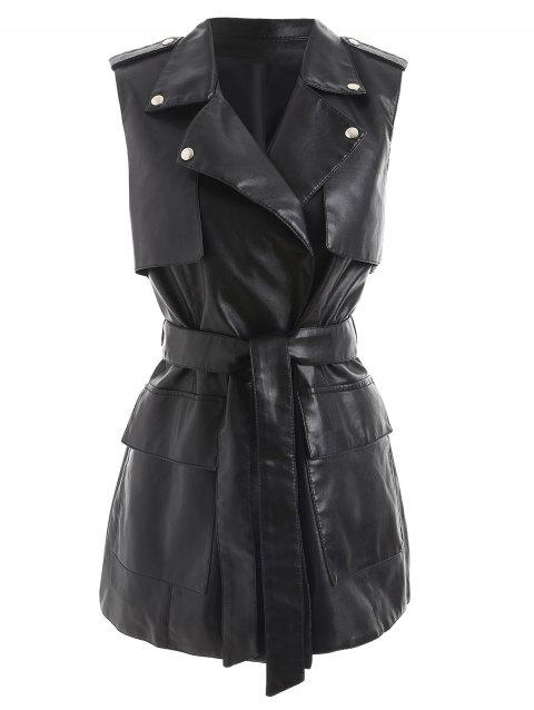 Belted Faux Leather Tunic Waistcoat - BLACK M